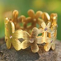 Gold plated amethyst flower ring, 'Mystical Frangipani'