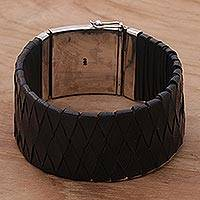 Leather and sterling silver wristband bracelet, 'Black Bali Weave' - Black Leather Wristband Silver Clasp Handcrafted in Bali