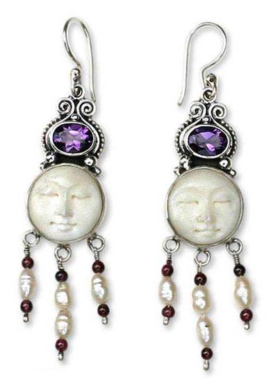 Amethyst and pearl dangle earrings, 'Moon Prince' - Amethyst and Pearl Chandelier Earrings