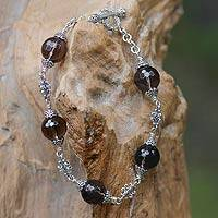 Smoky quartz link bracelet, 'Regal Elegance' (8 inch)