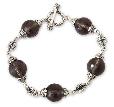 Smoky quartz link bracelet, 'Regal Elegance' (8 inch) - Smoky quartz link bracelet (8 inch)