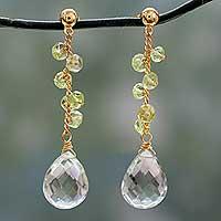 Gold vermeil prasiolite and peridot dangle earrings,