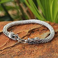 Men's sterling silver bracelet, 'Magical Nagas' - Men's Handcrafted Sterling Silver Chain Bracelet