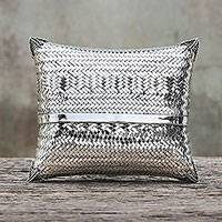 Silver plated brass clutch, 'Thai Weavings'