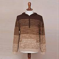 Men's 100% alpaca hooded sweater, 'Andes Adventurer' - 100% Alpaca Men's Knit Hooded Sweater with Wide Stripes