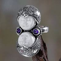 Amethyst cocktail ring, 'Royal Romance' - Artisan Crafted Sterling Silver and Amethyst Cocktail Ring