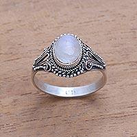 Rainbow moonstone single-stone ring, 'Princess Gem' - Handmade Rainbow Moonstone Single-Stone Ring from Bali