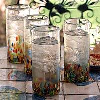Highball glasses, 'Confetti' (set of 4) - Colorful Handblown Glass Highball Cocktail (Set of 4)