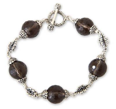 Smoky quartz link bracelet, 'Regal Elegance' (7.5-inch) - Smoky Quartz Link Bracelet (7.5-inch)