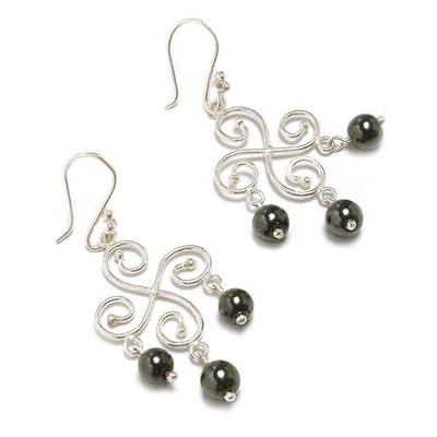 Hematite chandelier earrings,