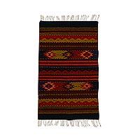 Zapotec wool rug, 'Sierra Meadows' (2x3.5) - Zapotec wool rug (2x3.5)