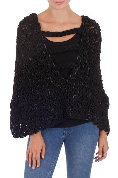 Hand Crocheted Alpaca Poncho In Black Over Grey From Peru
