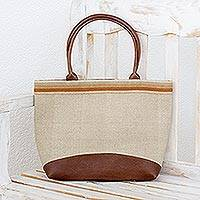Leather accent cotton shoulder bag, 'Natural Horizon' - Leather Accent Handbag of Handwoven Natural Cotton