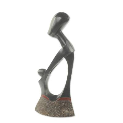 African wood sculpture, 'Dada Kli Vi' - Original Abstract African Wood Sculpture of Mother and Child