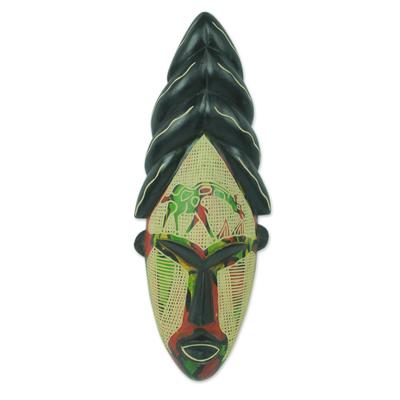 African mask, 'Cheerful Giraffe' - Giraffe Themed Hand Carved African Mask from Ghana