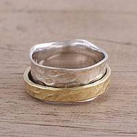 Sterling silver and brass meditation spinner ring, 'Contrasting Beauty'