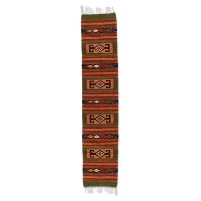 Zapotec wool rug, 'Sierra Life' (1.5x6.5) - Artisan Crafted Geometric Wool Area Rug (1.5x6.5)