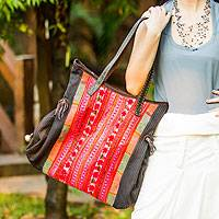 Cotton shoulder bag, 'Hmong Black' - Embroidered Hill Tribe Shoulder Bag from Thailand