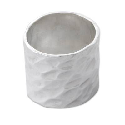 Sterling silver band ring, 'Infinity Terrain' - Sterling Silver Hammered Band Ring From Peru