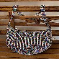 Soda pop-top hobo bag, 'Colorful Wishes' - Handcrafted Colorful Soda Pop-Top Hobo Bag from Brazil