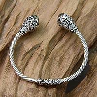 Gold-accented prasiolite cuff bracelet,