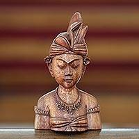 Wood sculpture, 'Young Man from Bali'