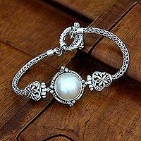Cultured pearl braided bracelet,