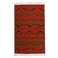 Zapotec wool rug, 'Fire of Dawn' (4x6.5)
