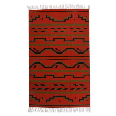 Zapotec wool rug, 'Fire of Dawn' (4x6.5) - Zapotec Rug Artisan Hand Woven 4 X 6.5
