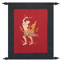 Cotton wall hanging, 'Kinaree Femininity' - Cotton wall hanging