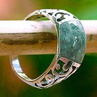Jade domed ring, 'Sweet Maya in Light Green' - Light Green Guatemalan Jade and Sterling Silver Ring