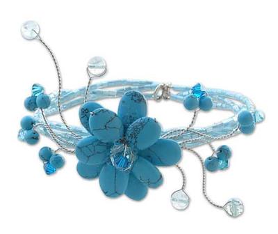 Reconstituted Turquoise Beaded Bracelet
