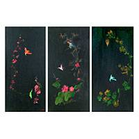 'Midnight Blossom' (triptych) - Original Oil on Canvas Floral Triptych from India