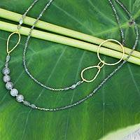 Gold plated labradorite beaded necklace,