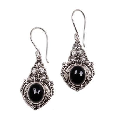 Onyx flower earrings, 'Midnight Garden' - Floral Onyx Sterling Silver Dangle Earrings