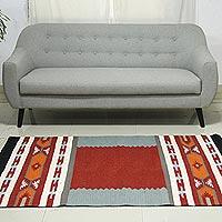 Wool area rug, 'Festive Salute' (4x6)