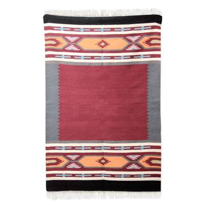 Wool area rug, 'Festive Salute' (4x6) - Hand Crafted 100% Wool Area Rug with Fringe from India (4x6)