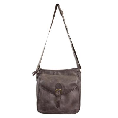 Artisan Crafted Dark Brown Leather Shoulder Bag