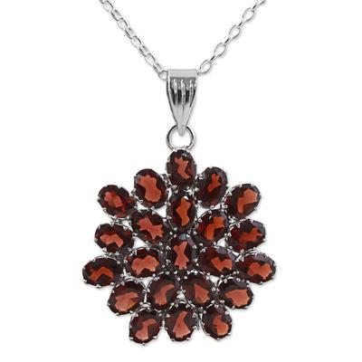 Garnet pendant necklace, 'Red Sunflower' - Hand Made Sterling Silver Garnet Pendant Necklace India
