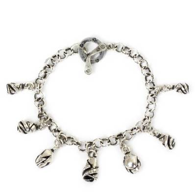 Silver charm bracelet, 'Rosebuds' - Fair Trade Floral 950 Silver Rose Charm Bracelet