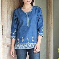Cotton tunic, 'Blue Geometric Brilliance'
