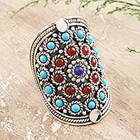 Lapis and carnelian cocktail ring, 'Mandala'