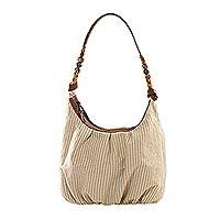 Leather accent natural cotton hobo bag, 'Modern Maya Memories'