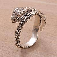 Sterling silver wrap ring, 'Silver King Cobra' - Unique Sterling Silver Snake Wrap Ring