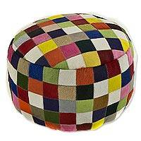 Cowhide ottoman cover, 'Festive Checkerboard' - Circular Handcrafted Hair-on Cowhide Patchwork Ottoman Cover