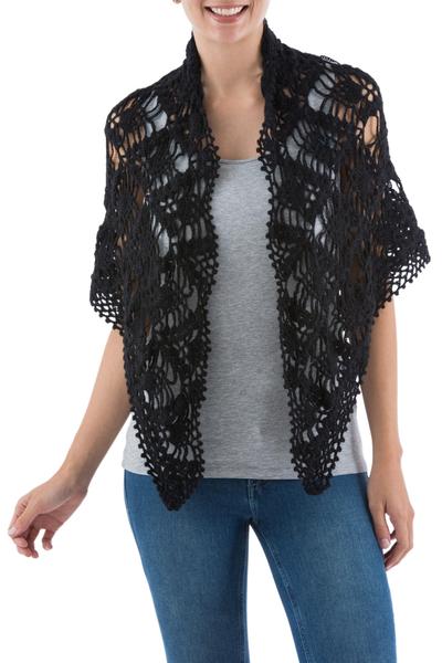 100% alpaca shawl, 'Black Andean Blossoms' - Hand Crocheted Black Lace Alpaca Shawl from Peru