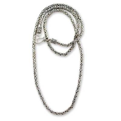 Sterling silver chain necklace, 'Borobudur Collection II' (20 inch) - Artisan Crafted Sterling Silver Chain Necklace (20 Inch)