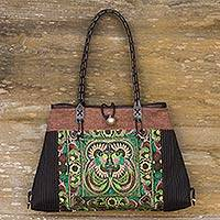 Cotton shoulder bag, 'Phoenix in Brown' - Thai Artisan Crafted Embroidered Cotton Shoulder Bag