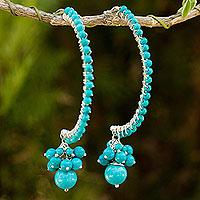 Calcite half-hoop earrings,
