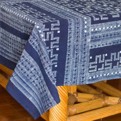 Cotton batik tablecloth, 'Hmong Lace'  - Indigo Blue Tablecloth Artisan Crafted Cotton Batik
